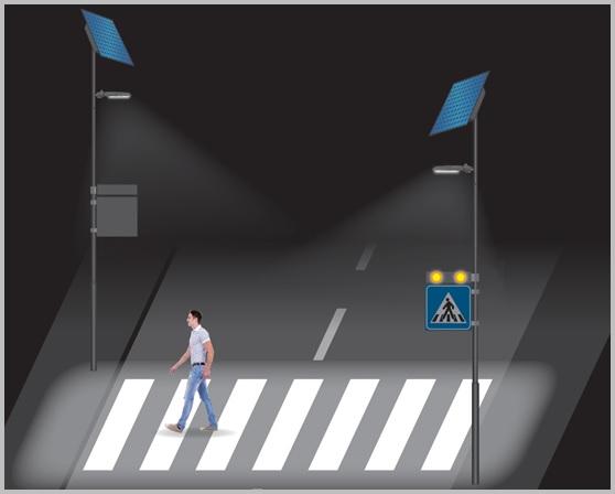 Napelemes okos gyalogátkelőhely figyelmeztető sárga villogó, pótmegvilágítással