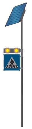 Napelemes Okos Gyalogátkelőhely Figyelmeztető Sárga Villogó