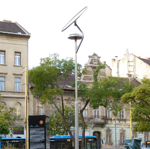 Budapest, Vérmező kerékpáros pihenő, napelemes térvilágítás, sétányvilágítás