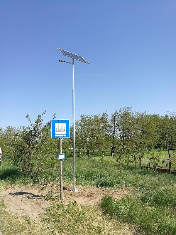 Sándorfalva, buszmegálló, napelemes kandeláber